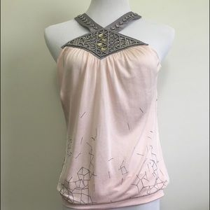 Marciano Silk Pink Blush and Gray Embellished Top